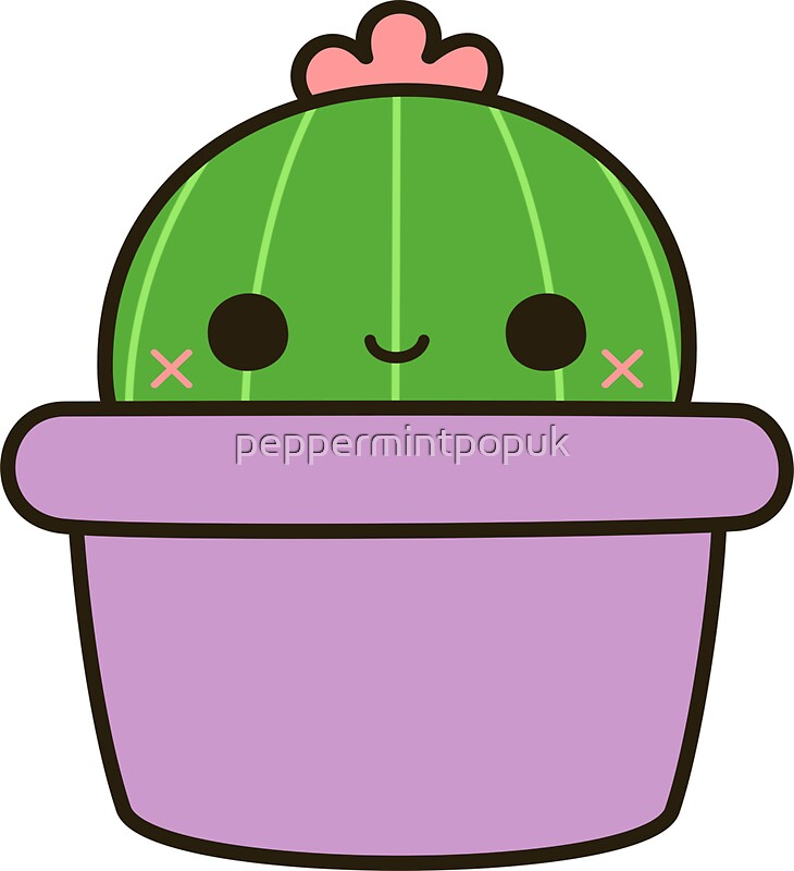 Quot Cute Cactus In Purple Pot Quot Stickers By Peppermintpopuk