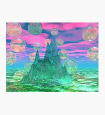 Poetic Mountain at Dawn, Glorious Pink Green Sky Photographic Print