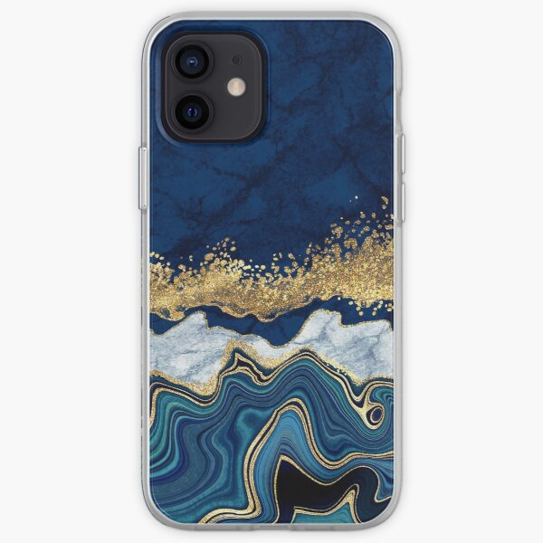 Modern Blue + Gold Veins Marble Watercolor Abstract Painting III iPhone Soft Case