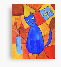 Whimsical Blue Cat And Red Poppies Canvas Print