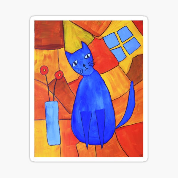 Whimsical Blue Cat And Red Poppies Sticker