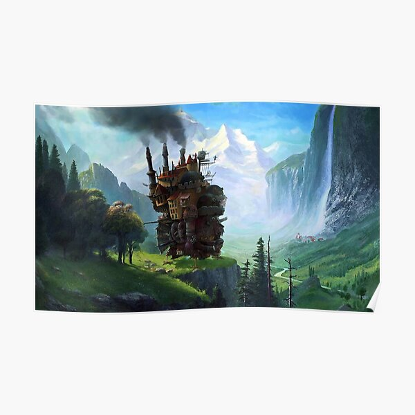 Aesthetics Moving Castle In Forest Poster