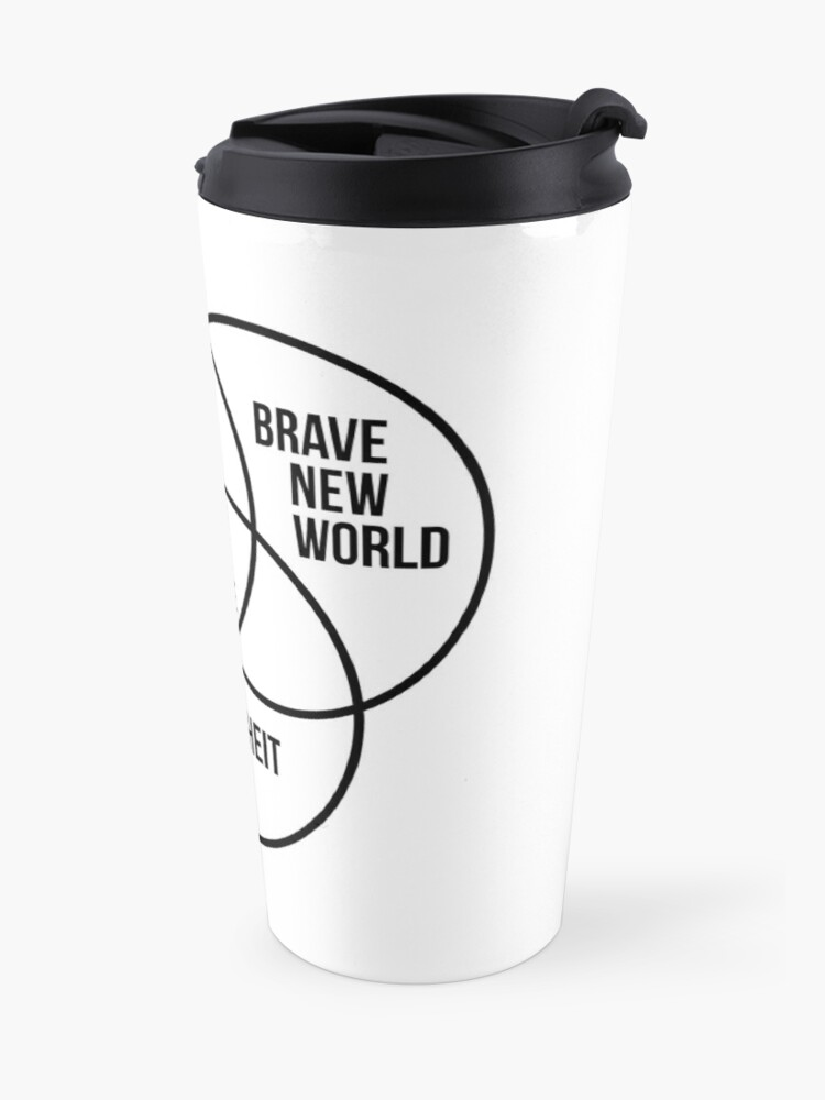 Alternate view of 1984 Brave New World Fahrenheit 451 Conspiracy Travel Mug