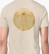 LEONARDO, Da Vinci, The Vitruvian Man, CIRCLE, c.1485, Accademia, Venice, on VELLUM Unisex T-Shirt