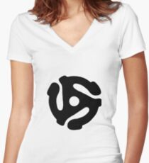 45 Record Adapter Women's Fitted V-Neck T-Shirt