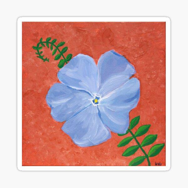 Periwinkle Blue Vinca Vine Flower On Terra Cotta Sticker