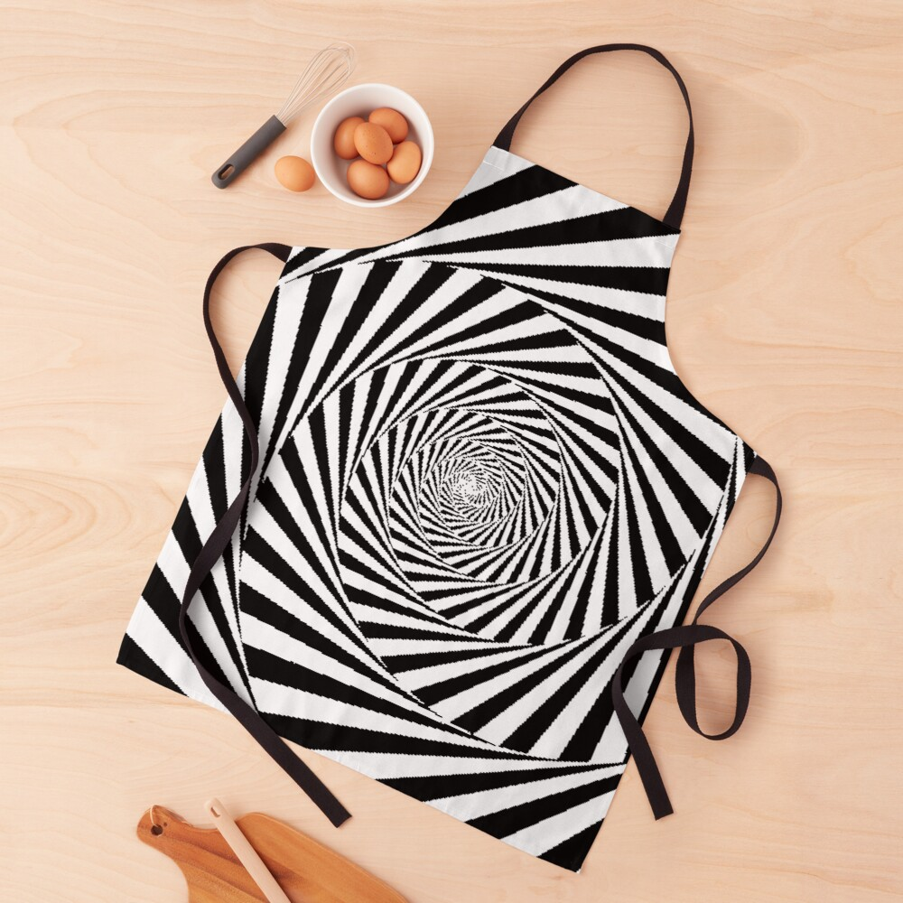 Optical Illusion Beige Swirl,  ur,apron_realistic_flatlay,square,1000x1000