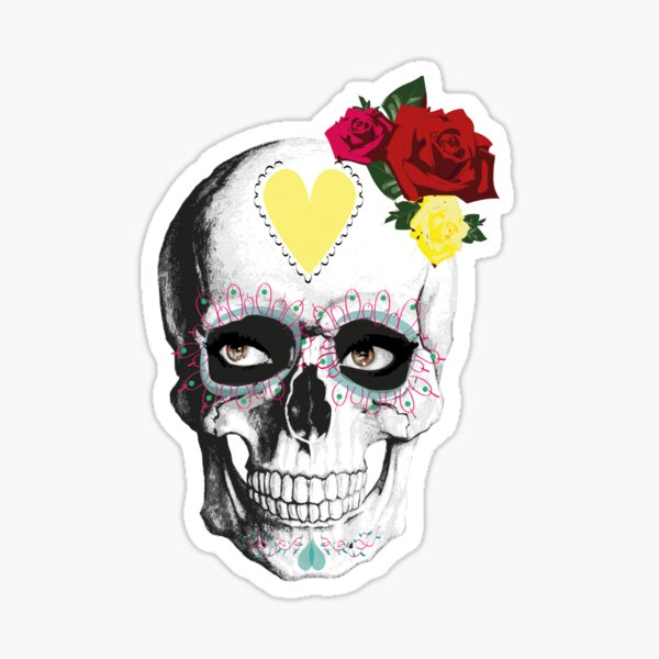 Skull with roses Sticker
