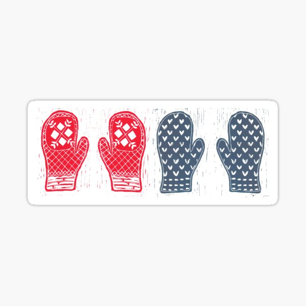 Red And Blue Nordic Designed Mittens Sticker