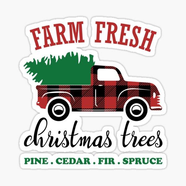 Farm Fresh Christmas Trees , Christmas Sign Buffalo Plaid Truck Sticker