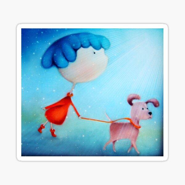 Cartoon dog and girl vibrant artwork Sticker