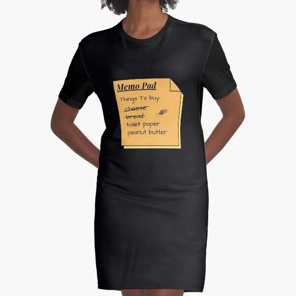 Funny Memo Pad Things To Buy List Graphic T-Shirt Dress
