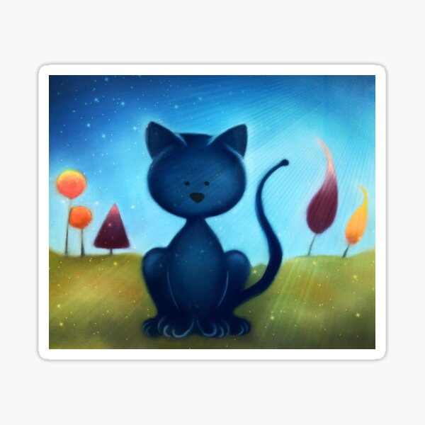 Cartoon Cat Pastel Painting with photo edit  Sticker