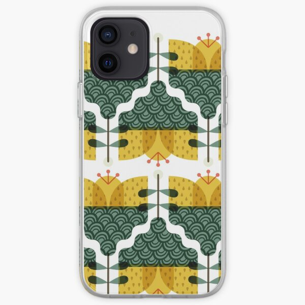 Mustard yellow and dark green Scandi flower iPhone Soft Case