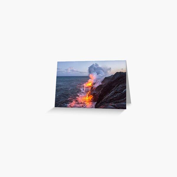 Kilauea Volcano Lava Flow Sea Entry 3- The Big Island Hawaii Greeting Card