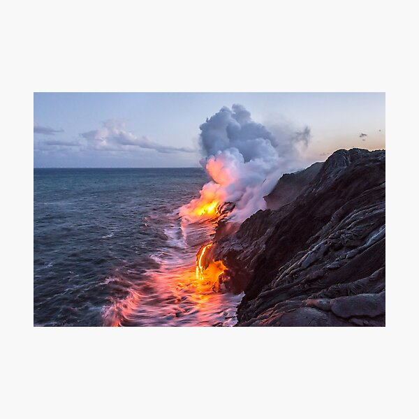 Kilauea Volcano Lava Flow Sea Entry 3- The Big Island Hawaii Photographic Print