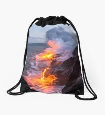 Kilauea Volcano Lava Flow Sea Entry 3- The Big Island Hawaii Drawstring Bag