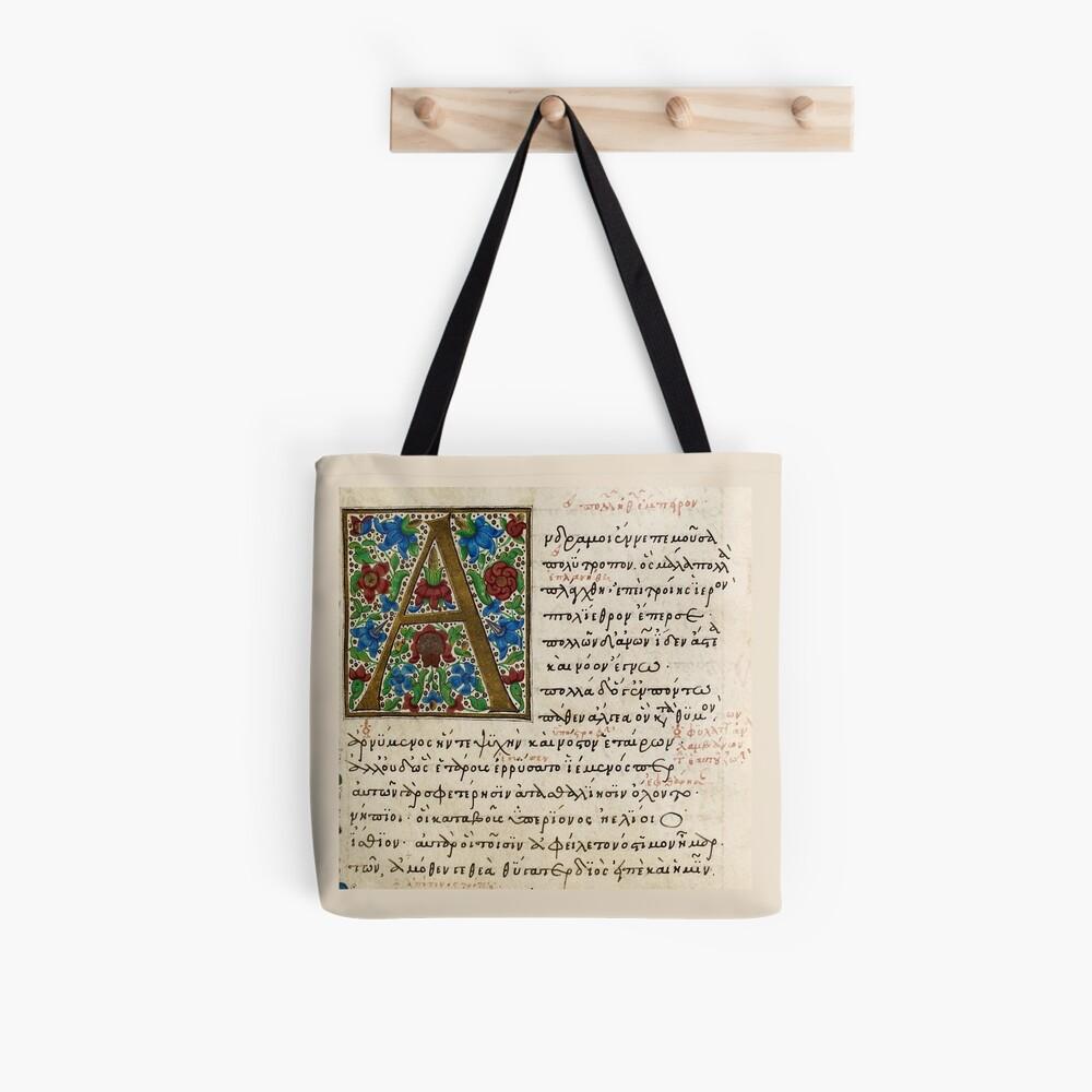 Homer, Odyssey manuscript. Date 3rd quarter of the 15th century. Tote Bag