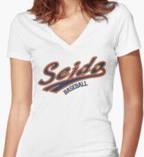 Seido Baseball Uniform Women's Fitted V-Neck T-Shirt