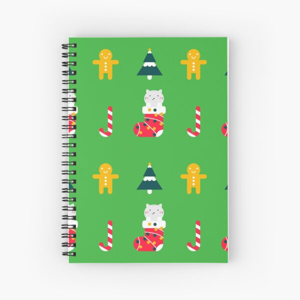 Christmas Cat Pattern Cat in Christmas Stocking Spiral Notebook