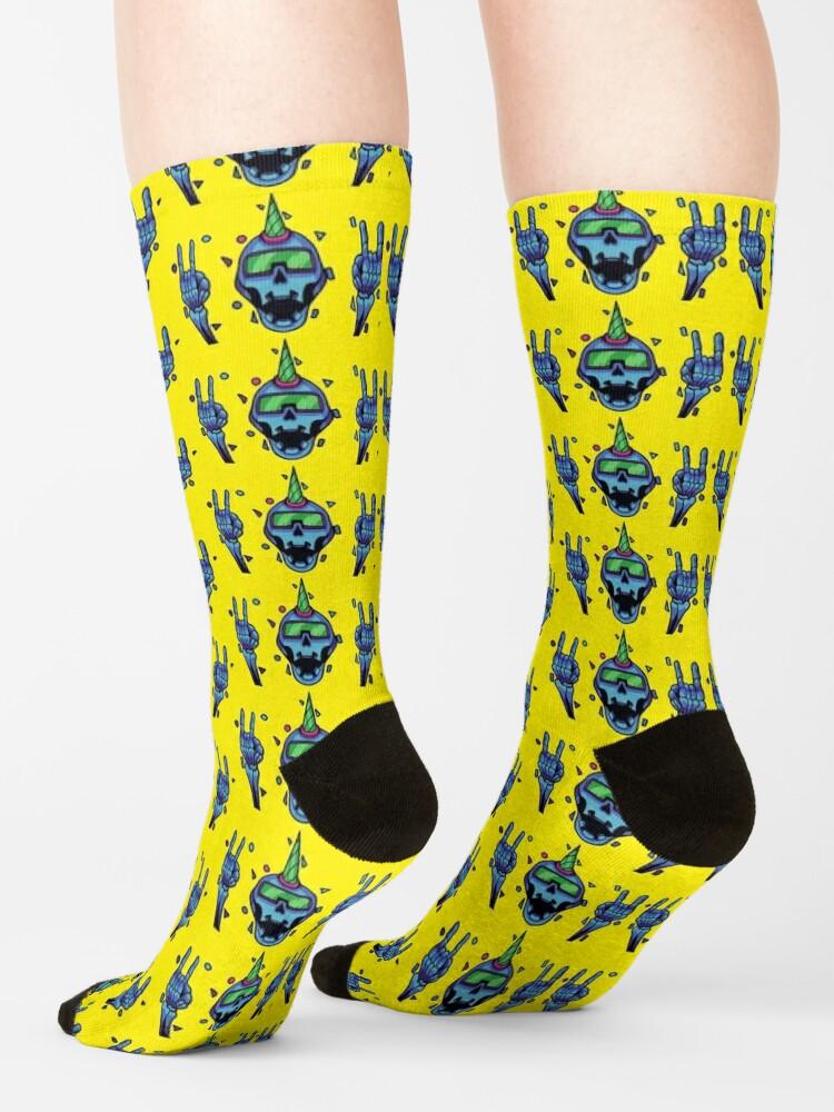 Alternate view of Holo Skull - CyberThugs Socks