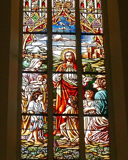 Stained Glass window, Name of Mary church, Novi Sad, Serbia (2) by Margaret  Hyde
