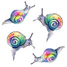 Rainbow Snails Hand-Painted Pattern by tanyashatseva