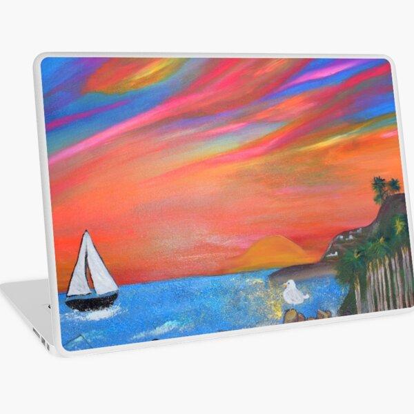 San Pedro Royal Palms Beach Sunset Painting By Concetta Ellis Laptop Skin