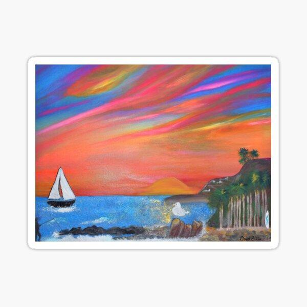 San Pedro Royal Palms Beach Sunset Painting By Concetta Ellis Sticker