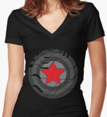 Winter Soldier Shield Women's Fitted V-Neck T-Shirt