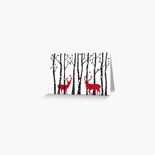 Christmas card, red deer in birch tree forest Greeting Card