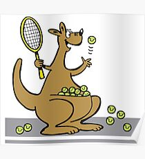 Cartoon of happy kangaroo serving tennis balls Poster