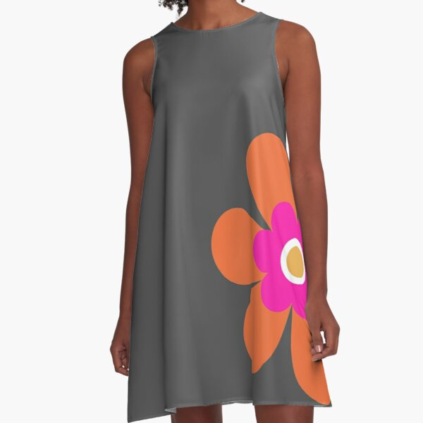 Calling all orange lovers! This vibrant retro 70s simple flower power block colour groovy graphic is in bright pink, orange and mustard yellow on dark slate grey A-Line Dress
