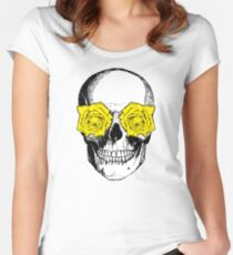 Skull and Roses | Pink and Yellow Women's Fitted Scoop T-Shirt