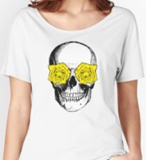 Skull and Roses | Pink and Yellow Women's Relaxed Fit T-Shirt