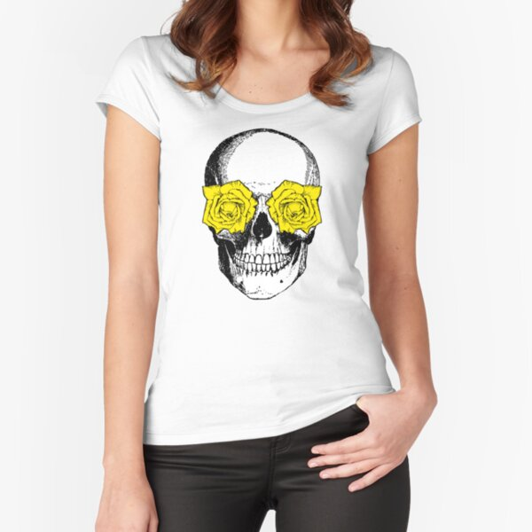 Skull and Roses   Skull and Flowers   Skulls and Skeletons   Vintage Skulls   Pink and Yellow    Fitted Scoop T-Shirt