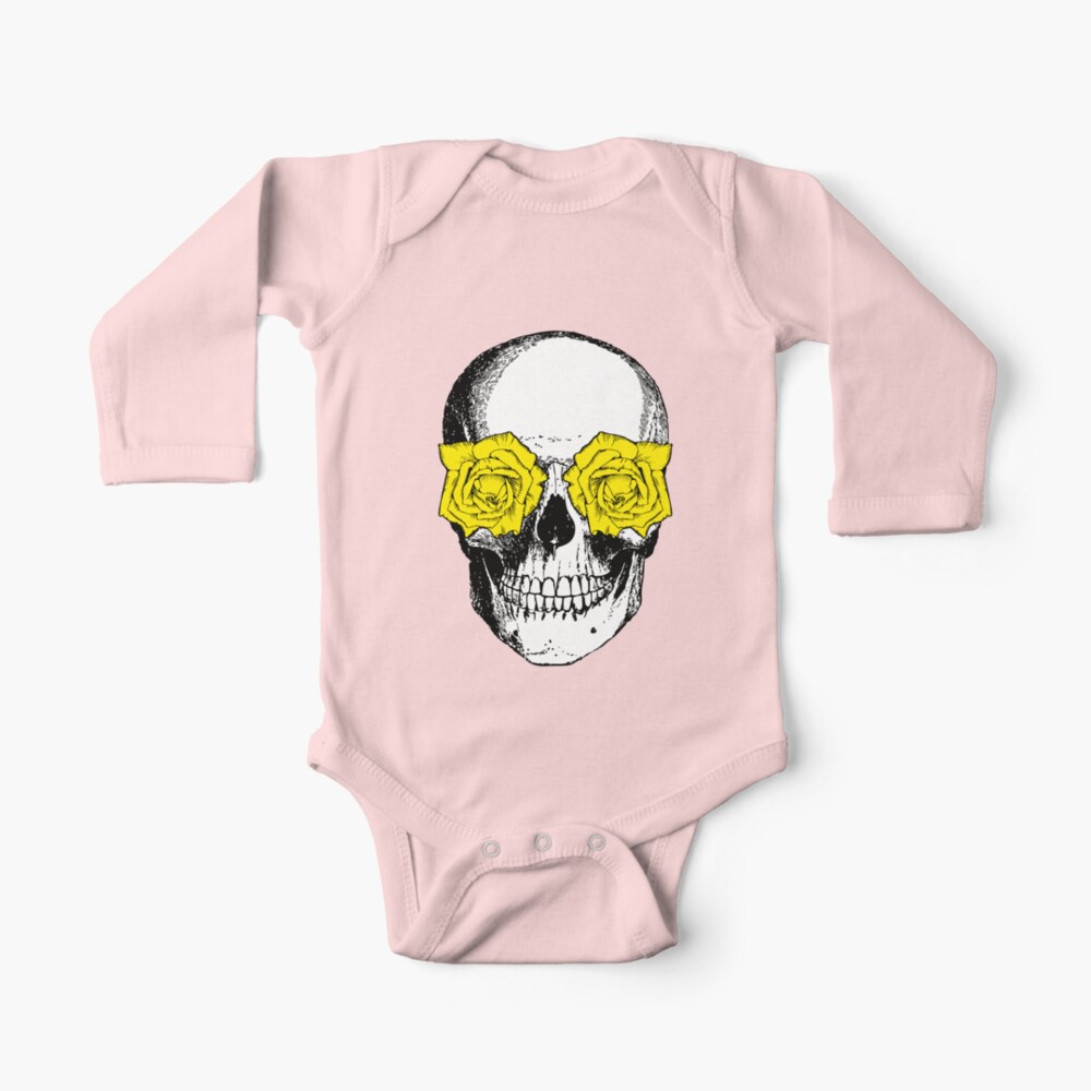 Skull and Roses | Skull and Flowers | Skulls and Skeletons | Vintage Skulls | Pink and Yellow |  Long Sleeve Baby One-Piece