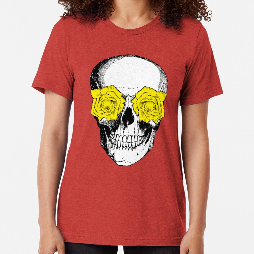 Skull and Roses   Skull and Flowers   Skulls and Skeletons   Vintage Skulls   Pink and Yellow    Tri-blend T-Shirt