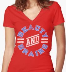 Beauty and Brains! Women's Fitted V-Neck T-Shirt