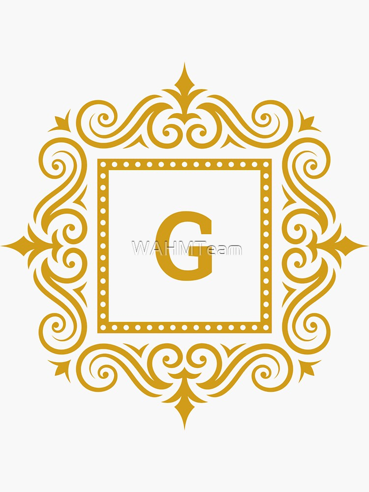 Monogram G, Initial G, Ornate Gold Monogram G, Letter G by WAHMTeam
