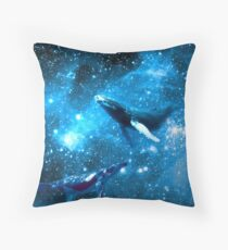 Space Whales and Scubba Diver Throw Pillow