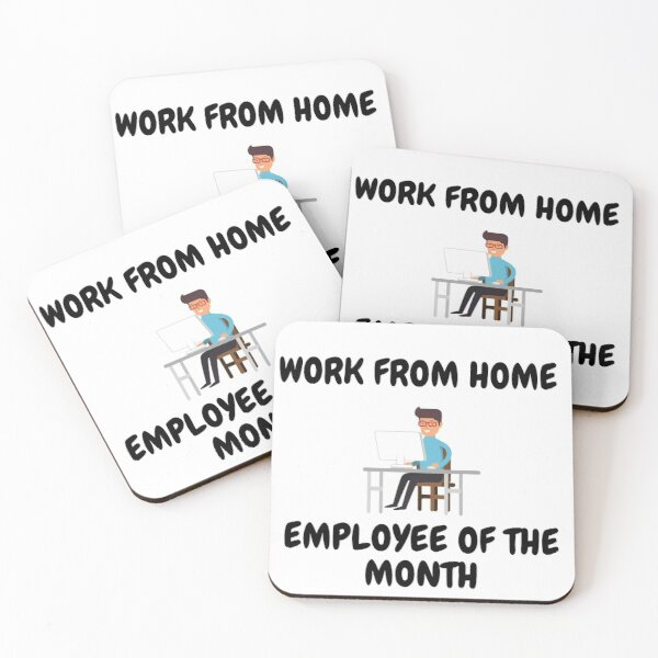 Work From Home Employee Of The Month Man On A Desk Coasters (Set of 4)