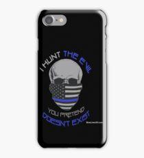 BLUE Line Skull iPhone Case/Skin