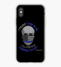 BLUE Line Skull iPhone Case