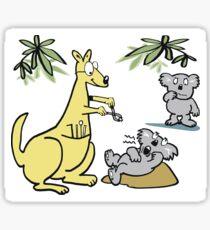 Cartoon of kangaroo dentist taking koala bear tooth out. Sticker