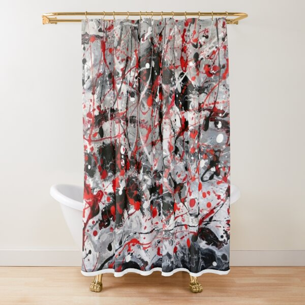 Write On, abstract art painting in red, black, grey and white Shower Curtain