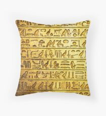 Ancient Egyptian Hieroglyphs Yellow Throw Pillow