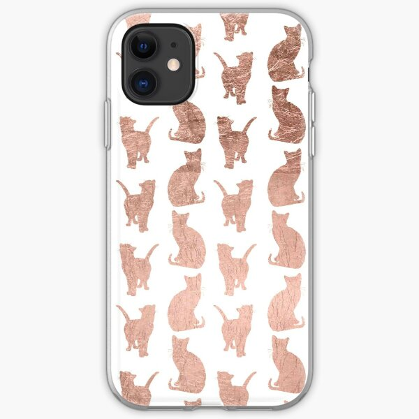 Trendy modern rose gold cats pattern iPhone Soft Case