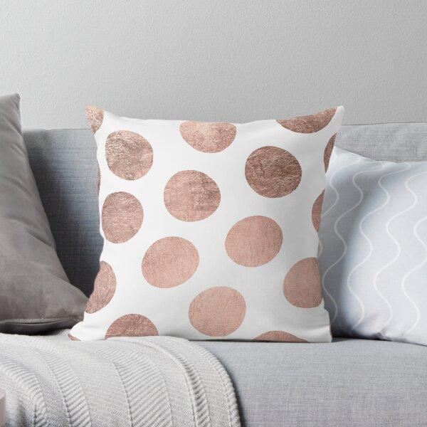 Modern faux rose gold hand drawn polka dots Throw Pillow