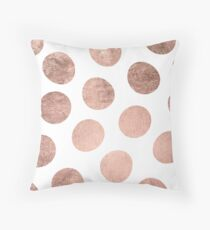 Modern faux rose gold hand drawn polka dots Throw Pillow